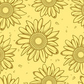 Sunflower seamless background — Vector de stock