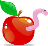 Apple with worm — Stock Vector