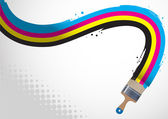 Brush draws a CMYK line — Wektor stockowy