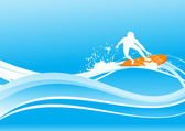 Surf sobre la ola azul — Vector de stock