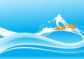 Surfen op blauwe golf — Stockvector