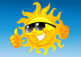 Cartoon sun in sunglasses — Vecteur
