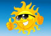 Dessin animé soleil lunettes de soleil — Vecteur