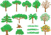 Children's drawing - tree and grass — Stockvector