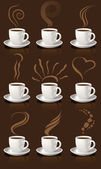 Coffee cups and steam — Stock Vector