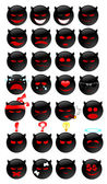 Devil smiles set — Stock Vector