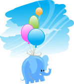 Flying elephant — Stock Vector