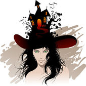 Halloween's beautiful witch — Stock Vector