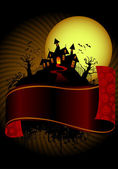 Halloween's house and scary banner — Vector de stock