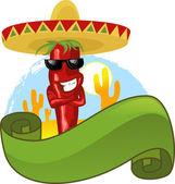 Mexicaine chili chaud et bannière verte — Vecteur