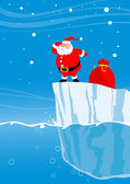 Santa on iceberg looks in a distance — Stock Vector