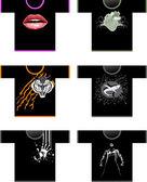 Sex skjortor — Stockvektor