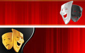 Theater banner with mask — Stock Vector