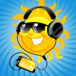 Cartoon sun with headphone — Vettoriali Stock