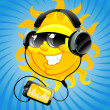 Cartoon sun with headphone — Imagen vectorial