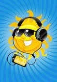 Cartoon sun with headphone — Stock Vector