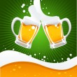 Vector de stock : Two beer mugs and beer wave