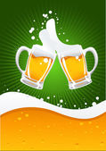 Two beer mugs and beer wave — Vector de stock