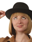 Blonde in a hat — Stock Photo