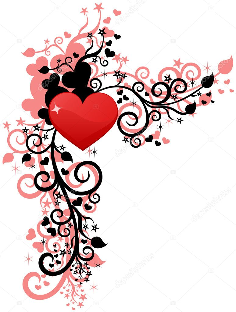 Heart love or Valentine's design. Corner vector element  Stock Vector #1623961