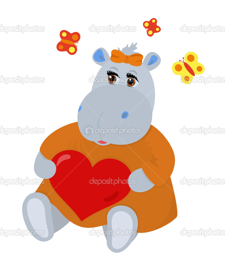 Hippo-girl in love holding heart in hands, butterflies flit over she — Stock Vector #1623973