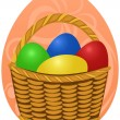 Stock Vector: Easter Eggs in basket on background