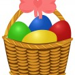 Stock Vector: Wicker basket with colored Easter Eggs