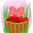 Wicker basket with hearts — Stock Vector