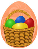 Easter Eggs in basket on background — Stock Vector