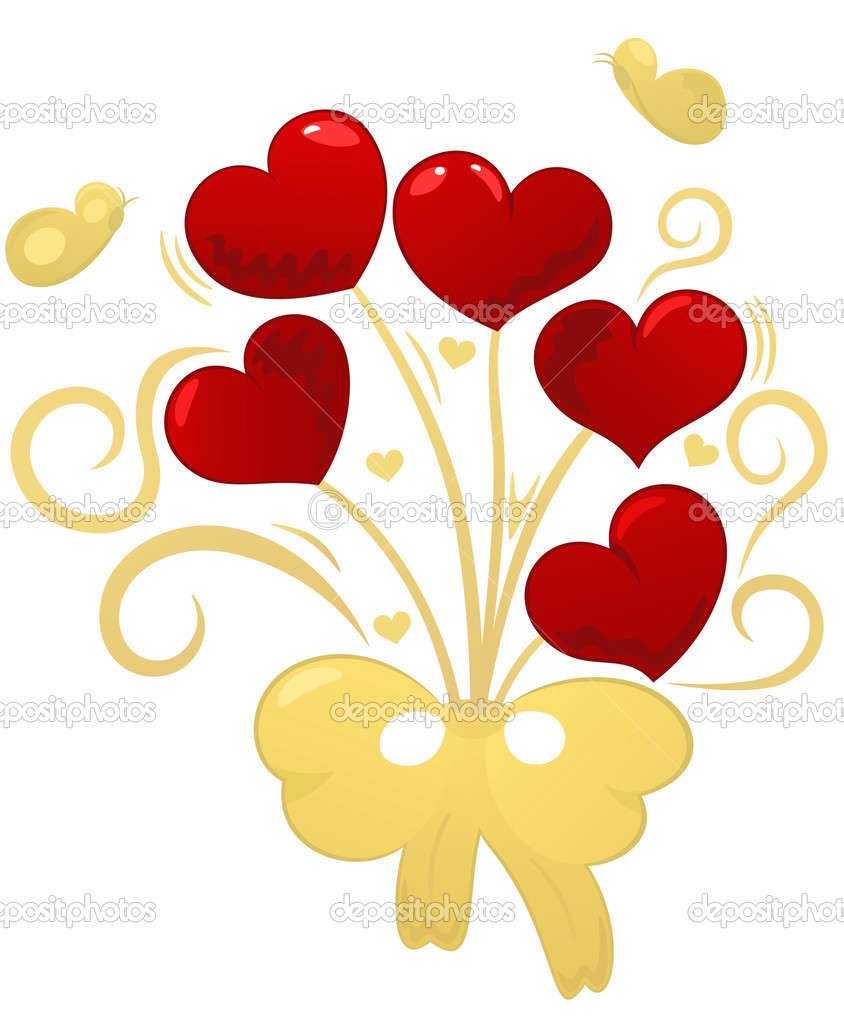 Golden bouquet red hearts, butterflies, element for design, vector illustration — Stock Vector #1659242