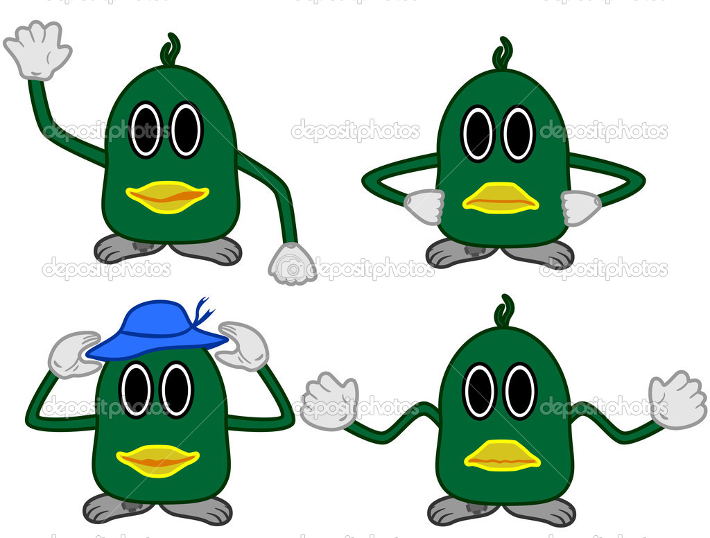Four emotions a green monster — Stock Vector #1659762