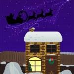 Christmas night. Santa Claus fly — Stock Vector