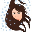 Cold winter wind blows in the woman — Stock Vector