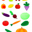 Fresh fruits and vegetables — Stock Vector