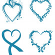 Various hearts in blue color — Stock Vector