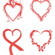 Various hearts in red color for design — Stock Vector