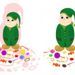Stock Vector: Nice dwarf with candies
