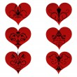 Set hearts with floral ornament inside - Stock Vector