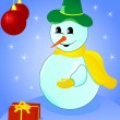 Christmas snowman with gift — Stock Vector