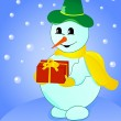Snowman with gift on winter background — Stock Vector