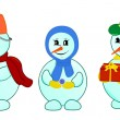 Stock Vector: Snowmen family