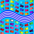 Cheerful motley fishes — Stock Vector