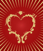 Golden heart on red background — Stock Vector