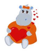 Hippo in love — Stock Vector