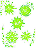 Flowered background green on white — Stock Vector