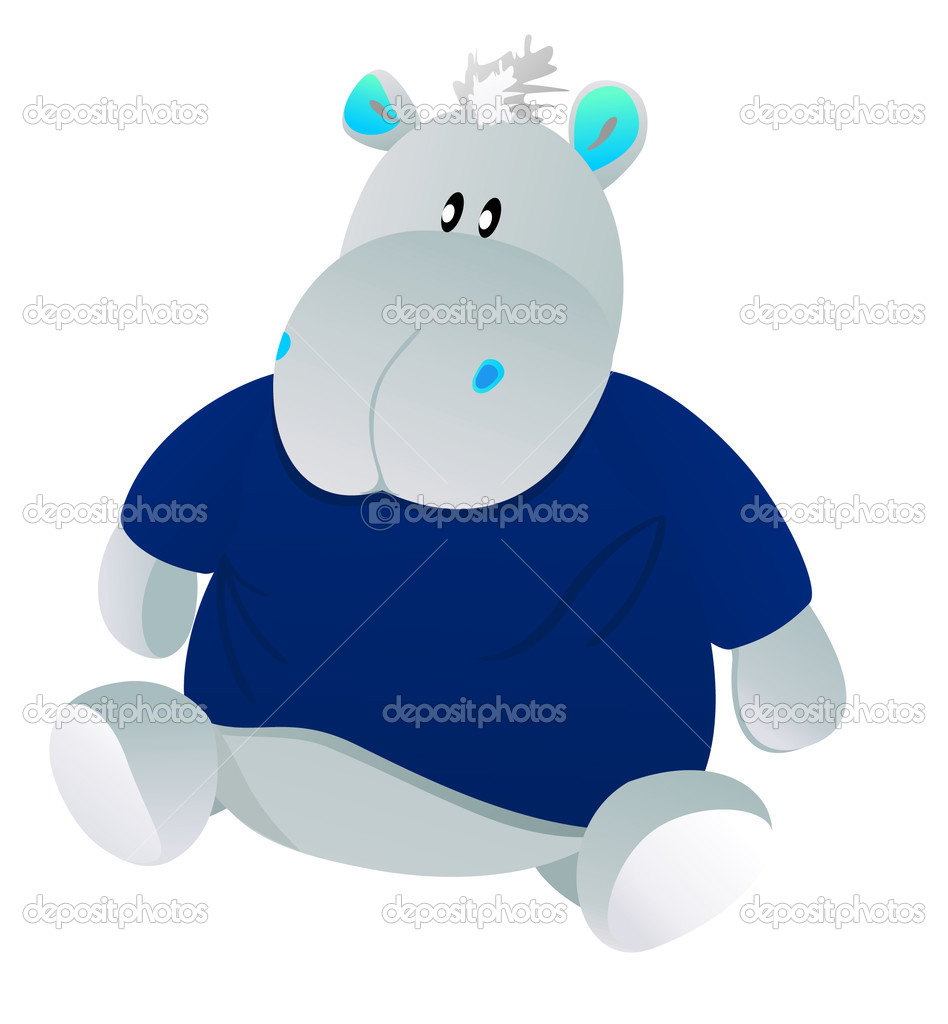Vector picture of toy sitting hippo in shirt — Stock Vector #1661822