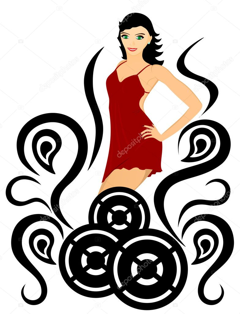 Variation on dancing theme. Girl, dance, energy — Stock Vector #1661930