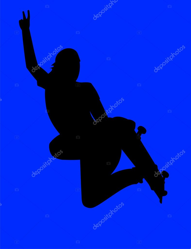 Vector illustration. Teenager extremely jumping on a skateboard — Stock Vector #1662156