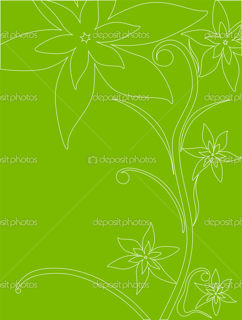 Vector illustration of white outline of flowers on a green background  Stock Vector #1662404