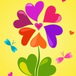 Floral composition of hearts — Vector de stock